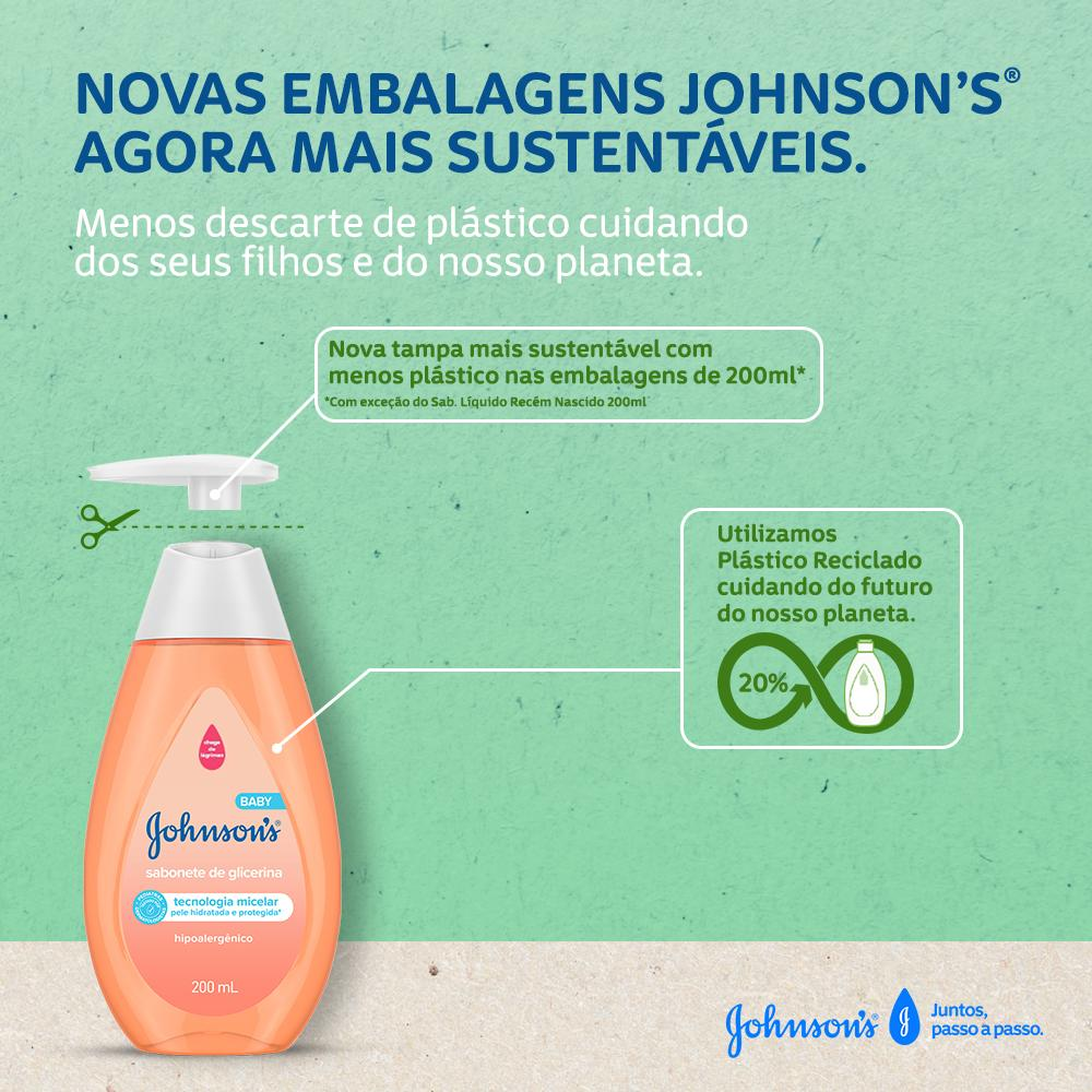 Sabonete Líquido  JOHNSON'S® de Glicerina embalagens sustentáveis