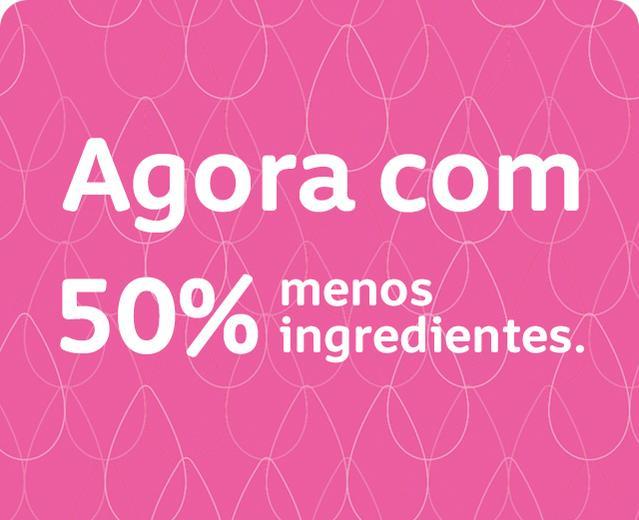 Banner sinalizando produtos com 50% menos ingredientes