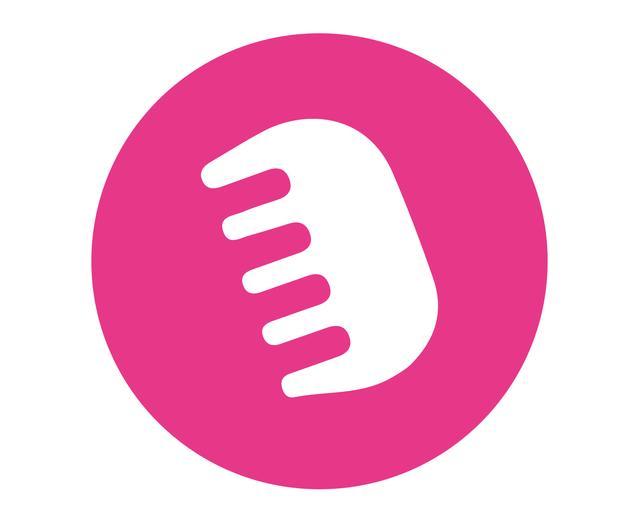 Ícone de um pente no fundo rosa