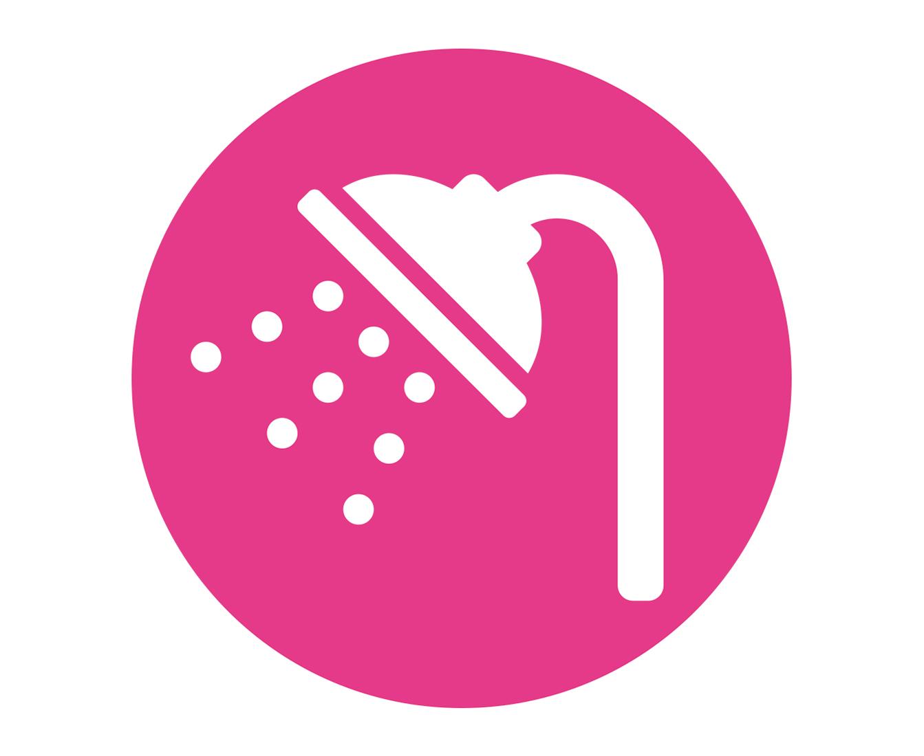 Ícone de um chuveiro num fundo rosa